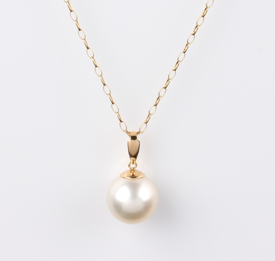 26a483be8 Solitaire Pendant, South Sea Pearl White, 13.0mm, 18KY | MIKURA