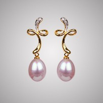 Twist Freshwater Pearl Earrings, 8.0mm,18KY