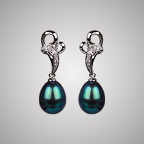 Heart Pearl Earrings, Treated Black Freshwater Pearls & Diamonds, 18KW