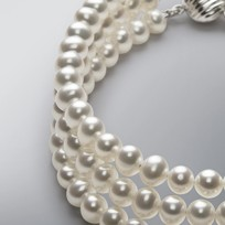 3 Strand Pearl Bracelet with White Freshwater 5.0-4.5 mm Pearls
