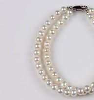 White Freshwater Pearl 2 Strands Bracelet 5.5mm 18KW