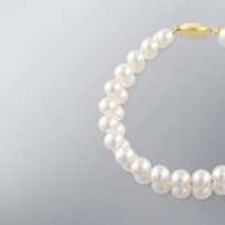Pearl Bracelet with White Japanese Akoya 7.5-7.0 mm Pearls