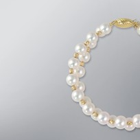 Pearl Bracelet with White Japanese Akoya 8.0-7.0 mm Pearls