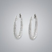 MIKURA Hoop Diamond Earrings