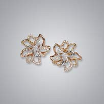 3 Color Floral Diamond Earrings