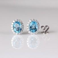 MIKURA Blue Topaz Diamond Earrings
