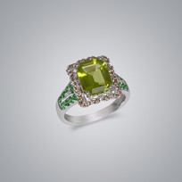 Diamond Ring with Peridot and Garnet