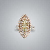 Convex Yellow Diamond Ring
