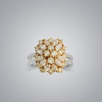 Cluster Yellow Diamond Ring