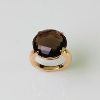 MIKURA Smoky Quartz Rose Gold Ring