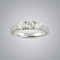 3 Stone Diamond Ring, SI clarity, G color