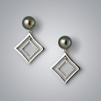 Pearl Earrings with Treated Black Freshwater Pearls and Diamonds