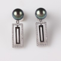 Freshwater Pearl Earrings, Treated Black, 7.5mm, Diamonds, 18KW