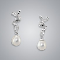 Pearl Earring with White Freshwater 7.5-7.0 mm Pearls