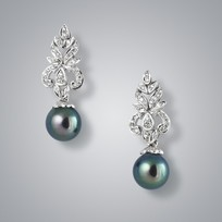 Pearl Earrings with Treated Black Freshwater Pearls