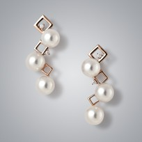 3 Pearl Earrings with White Freshwater Pearls and Diamonds