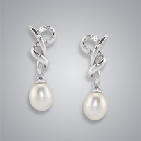 Small Heart Pearl Earrings with White Freshwater Pearls