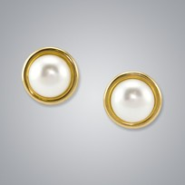 Pearl Earrings with Button Freshwater 8.5-8.0 mm Pearls
