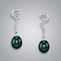 Pearl Earrings with Treated Black Freshwater 9.5-9.0 mm Pearls