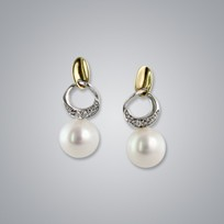 Pearl Earrings with White Freshwater 8.0-7.5 mm Pearls