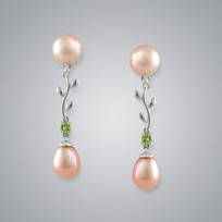 Pearl Earrings with Natural Multicolor Freshwater 8.5-7.5 mm Pearls