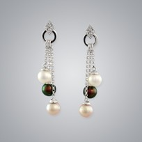 Pearl Earrings with White, Treated Black & Natural Multicolor Freshwater 5.5-5.0 mm Pearls