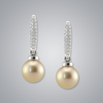 Pearl Earring with Treated Golden Japanese Akoya 9.0-8.5 Pearls