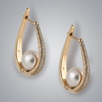 Bali Pearl Earrings with White South Sea Pearls