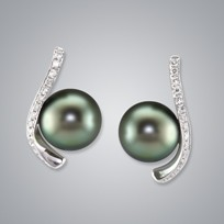 Pearl Earring with Natural Black South Sea 11.0-10.0 Pearls