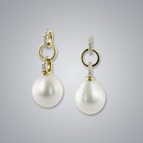 Pearl Earrings with White South Sea 11.0-10.0 mm Pearls
