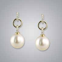 Pearl Earring with Natural Champagne South Sea 11.0-10.0 mm Pearls