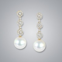 Pearl Earrings with White South Sea 12.0-11.0 mm Pearls