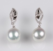Desire South Sea Pearl Earrings, 13.0mm, 18KW