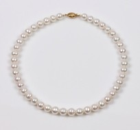 White freshwater Pearl Strand Necklace 9.5mm, 18KY