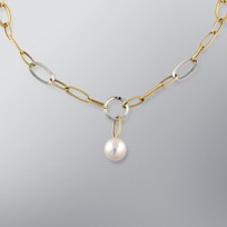 Pearl Necklace with White Freshwater 11.0-10.5 mm Pearls