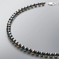 Pearl Necklace with Treated Black Freshwater 6.5 - 6.0 mm Pearls