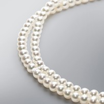 2 Line Divider Pearl Necklace with White Freshwater Pearls