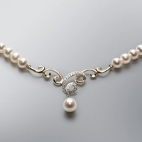 Telephone Pearl Necklace with White Freshwater Pearls