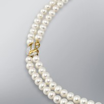 2 Strand Pearl Necklace with White Freshwater Pearls
