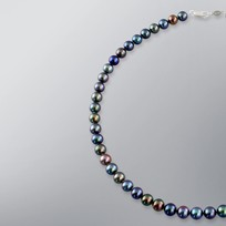 Pearl Necklace with Treated Black Freshwater 8.0-7.5mm Pearls