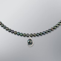 Pearl Necklace with Treated Black Freshwater 7.5-5.0 mm Pearls