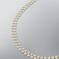 2 Strand Pearl Necklace with White Freshwater 5.5-5.0 mm Pearls and Yellow Gold Beads