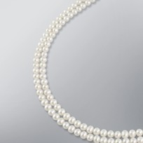 White Freshwater Pearl 2 Strand Necklace, 6.5-6.0 mm, 18KW