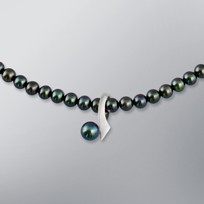Pearl Necklace with Treated Black Freshwater 7.0-5.0 mm Pearls