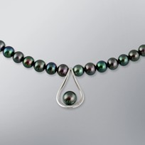 Pearl Necklace with Treated Black Freshwater 7.5-6.0 mm Pearls