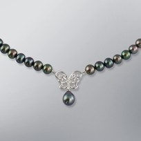 Pearl Necklace with Treated Black Freshwater 8.0-6.0 mm Pearls