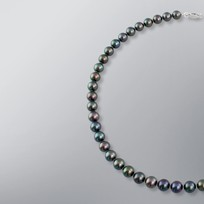 Pearl Necklace with Treated Black Freshwater 8.5-8.0 mm Pearls