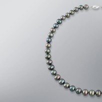 Pearl Necklace with Treated Black Freshwater 9.5-8.5mm Pearls