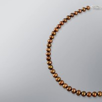 Pearl Necklace with Treated Brown Freshwater 7.5-7.0mm Pearls