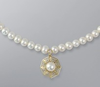 Pearl Necklace with White Freshwater 8.5-6.5 mm Pearls